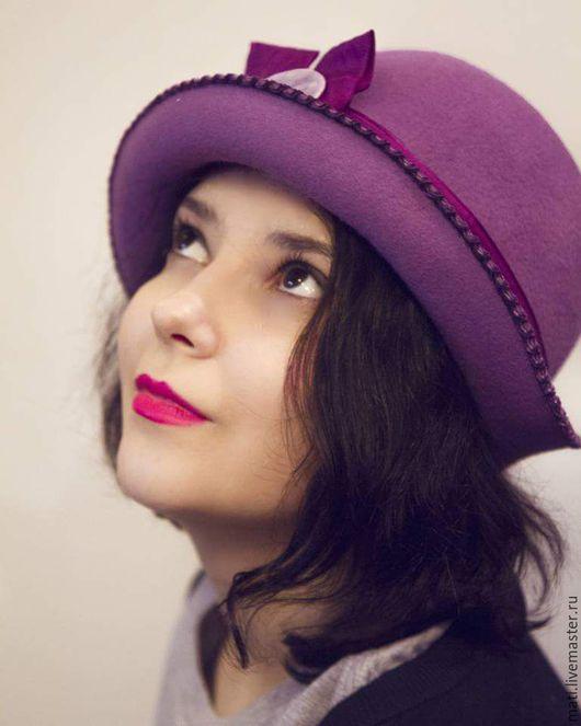 """Шляпы ручной работы. Ярмарка Мастеров - ручная работа. Купить Шляпка- клош """" Фиалка"""". Handmade. Сиреневый, шляпка-клош"""