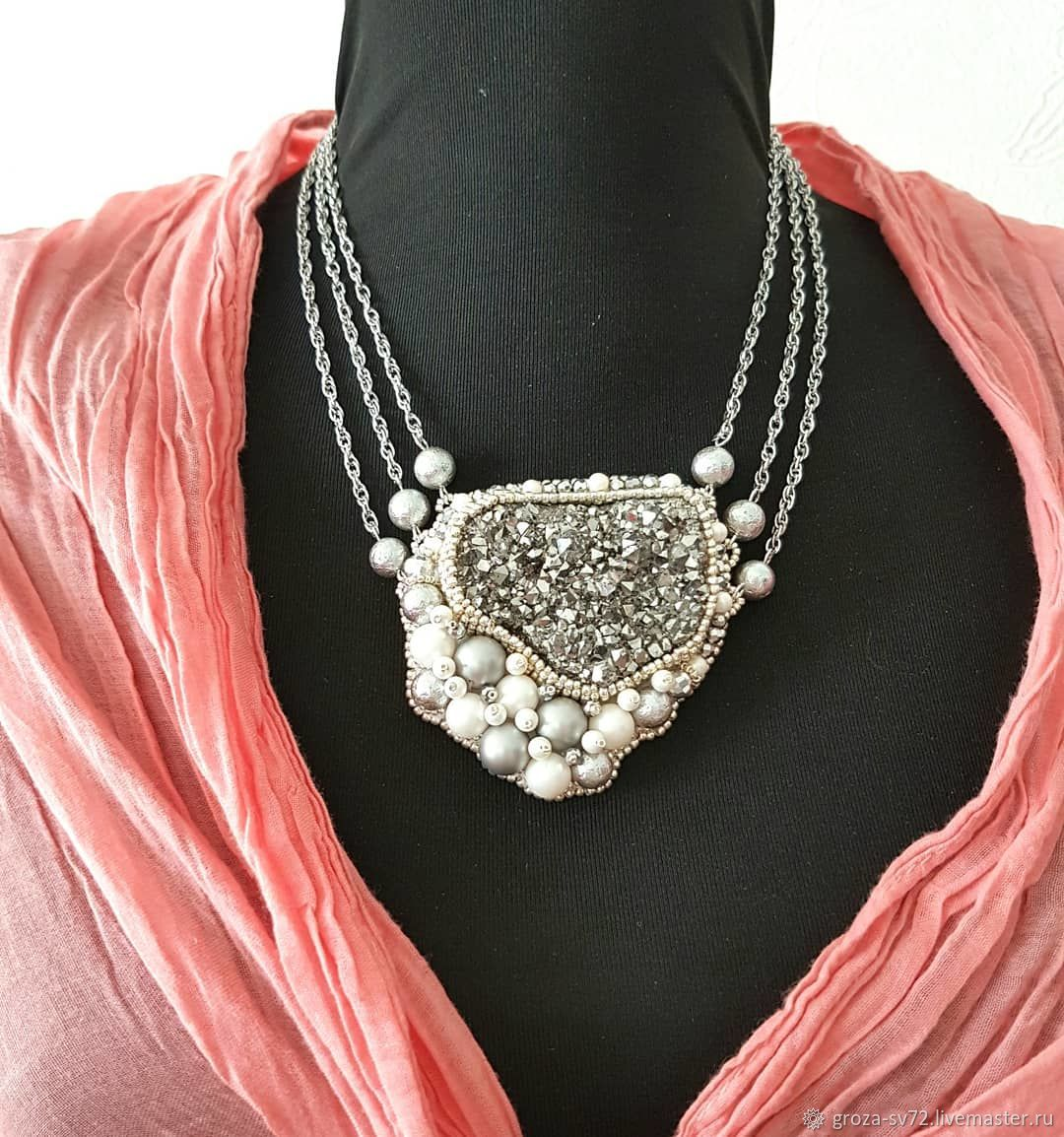 Necklace embroidered with beads 'the Cloud ', Necklace, Moscow,  Фото №1