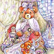 Картины и панно handmade. Livemaster - original item Picture of a bear with an attic doll !. Handmade.