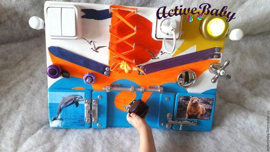 Развивающие игрушки ручной работы. Ярмарка Мастеров - ручная работа. Купить .бизиборд Кораблик. Handmade. Комбинированный, Монтессори, мебельная фурнитура