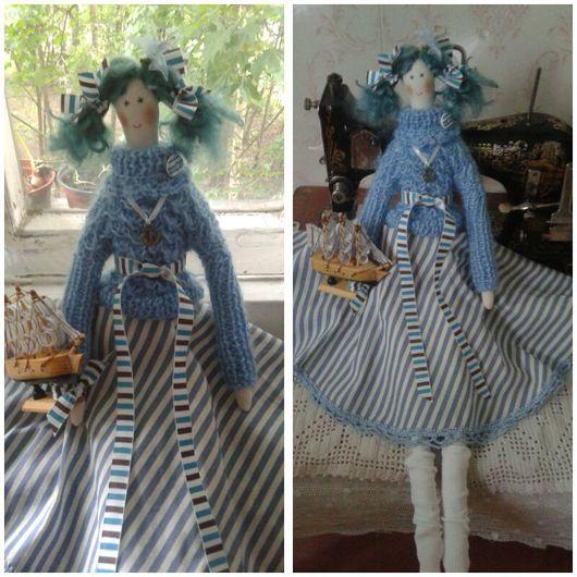 Куклы Тильды ручной работы. Ярмарка Мастеров - ручная работа. Купить Мари. Handmade. Тильда, интерьерная кукла, морская волна