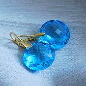 Украшения ручной работы. Ярмарка Мастеров - ручная работа Позолоченные серьги с голубыми топазами. Handmade.