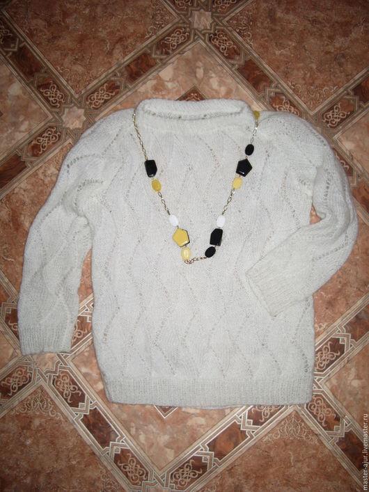 Кофты и свитера ручной работы. Ярмарка Мастеров - ручная работа. Купить Белый ажурный свитерок. Handmade. Белый, свитер, спицами