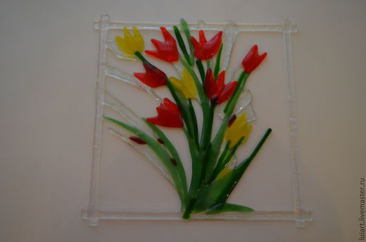 """Картины цветов ручной работы. Ярмарка Мастеров - ручная работа. Купить панно- подвес """"весна"""". Handmade. Подарок, тюльпаны, оптом"""