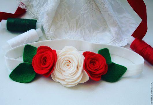 """Повязки ручной работы. Ярмарка Мастеров - ручная работа. Купить Повязка на голову для девочки """"Красно-белые розы"""". Handmade."""