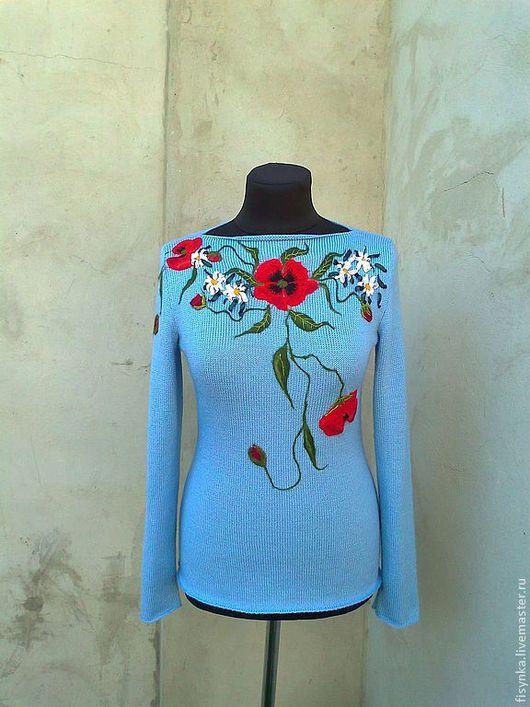 Кофты и свитера ручной работы. Ярмарка Мастеров - ручная работа. Купить свитерок вязаный  цветочный. Handmade. Голубой, Валяние, полушерсть