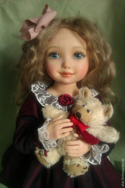 Коллекционные куклы ручной работы. Ярмарка Мастеров - ручная работа. Купить Полинка. Handmade. Бордовый, девочка с мишкой
