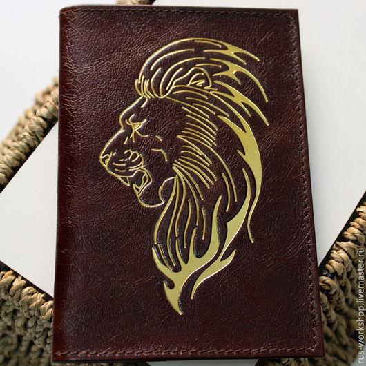 Обложки ручной работы. Ярмарка Мастеров - ручная работа. Купить Обложка для паспорта Лев. Handmade. Коричневый, обложка на автодокументы, тиснение