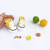 Работы для детей, ручной работы. Ярмарка Мастеров - ручная работа пинетки вязаные для новорожденных вязаные пинетки кеды желтый. Handmade.