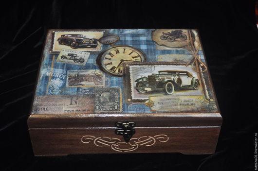 Шкатулки ручной работы. Ярмарка Мастеров - ручная работа. Купить Шкатулка для часов. Handmade. Тёмно-синий, подарок на 23 февраля
