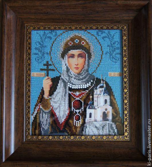 Икона из бисера `Святая Равноапостольная Ольга`