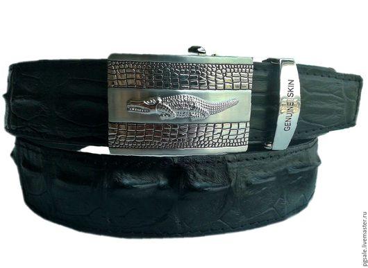 Мужской ремень из кожи крокодила. Чёрный мужской ремень. Подарок мужчине. Крокодиловый ремень. Купить ремень из крокодила. Ремень из крокодила. Подарок.