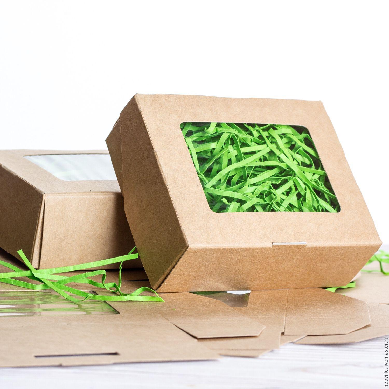 N1 коробка 10х8х3,5см с окном крафт, Коробки, Москва,  Фото №1