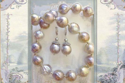 """Комплекты украшений ручной работы. Ярмарка Мастеров - ручная работа. Купить """"Танцующая королева"""" комплект серый жемчуг касуми серебро 925. Handmade."""