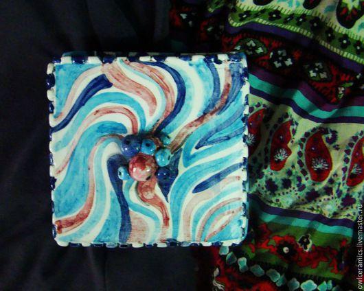 Шкатулки ручной работы. Ярмарка Мастеров - ручная работа. Купить Шкатулка керамическая Точка и спираль. Handmade. Шкатулка для украшений, глазурь