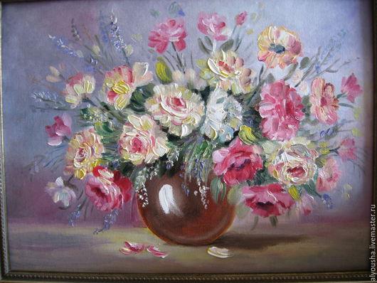 """Картины цветов ручной работы. Ярмарка Мастеров - ручная работа. Купить Картина  маслом  цветы  на  холсте. """" Розы нежность"""". Handmade."""