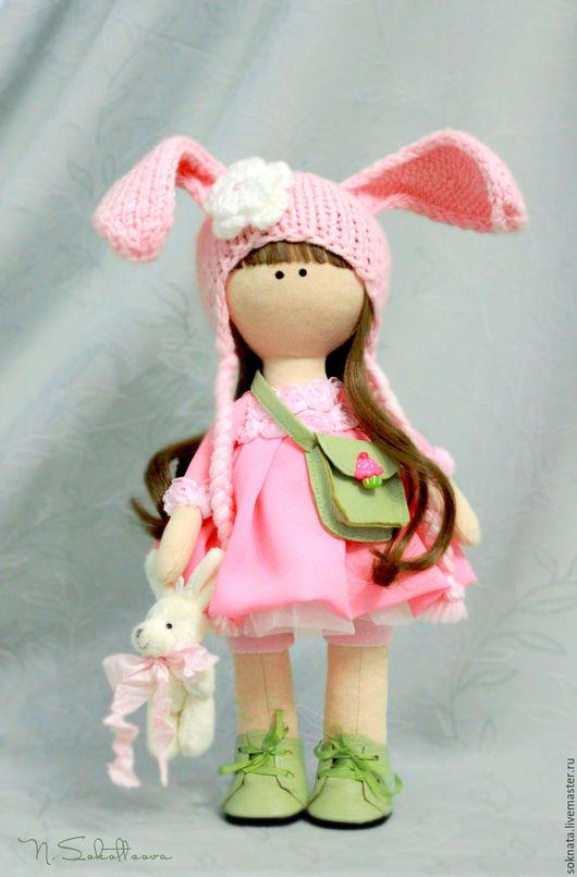 Коллекционные куклы ручной работы. Ярмарка Мастеров - ручная работа. Купить Зайка интерьерная текстильная кукла. Handmade. Зайка, розоывый