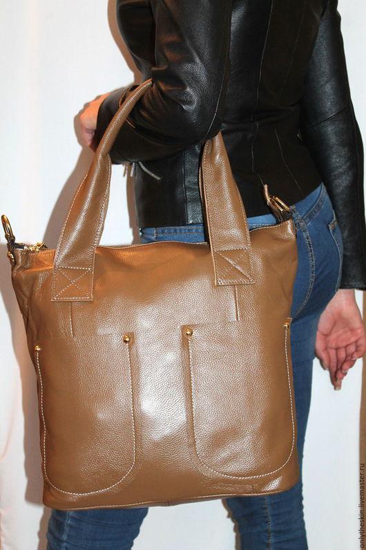 Женские сумки ручной работы. Ярмарка Мастеров - ручная работа. Купить Натуральная кожа. Женская сумочка. Handmade. Бежевый