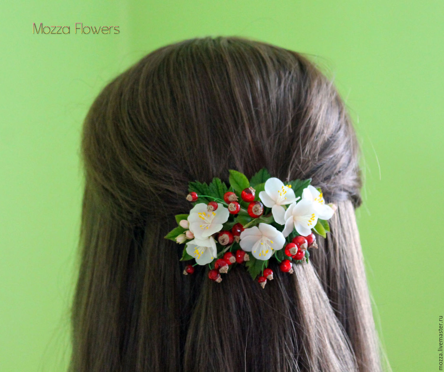 Barrette with Apple and red currant, Hairpins, Zarechny,  Фото №1