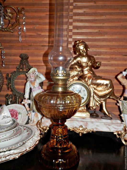Винтажные предметы интерьера. Ярмарка Мастеров - ручная работа. Купить Керосиновая лампа из цветного стекла Горчичный Мёд. Handmade. Лампа