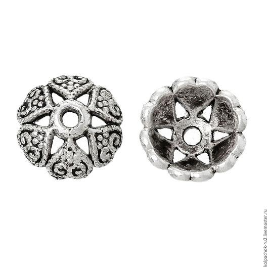 Для украшений ручной работы. Ярмарка Мастеров - ручная работа. Купить Шапочка для бусин, размер 8 мм, цвет серебро. Handmade.