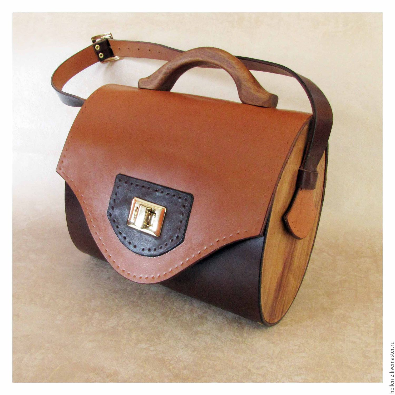 Handbags Handmade Livemaster Handbag Made Of Leather And Wood Honey