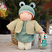 Вальдорфские куклы и звери ручной работы. Ярмарка Мастеров - ручная работа Кукла в костюме лягушки. Handmade.