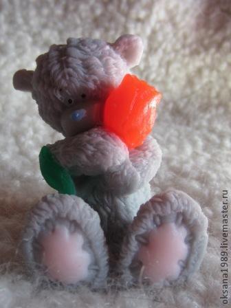 """Мыло ручной работы. Ярмарка Мастеров - ручная работа. Купить Мыло """"Тедди с тюльпаном"""". Handmade. Серый, тедди, мишка тедди"""