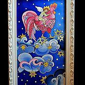 """Картины и панно ручной работы. Ярмарка Мастеров - ручная работа Панно на шёлке """"Петушок"""". Handmade."""