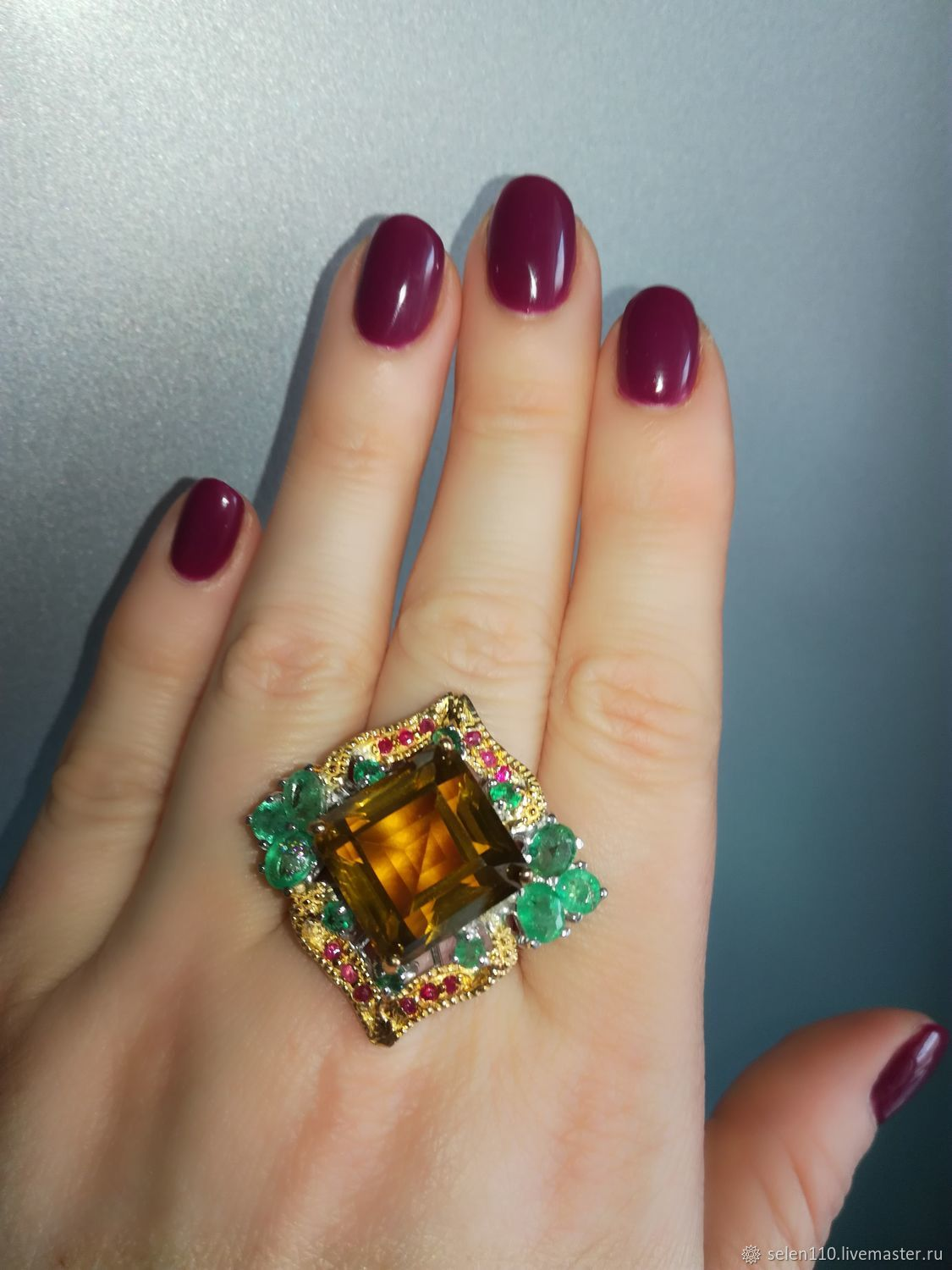 Ring 'Byzantium' with citrine and emeralds, Ring, Voronezh,  Фото №1