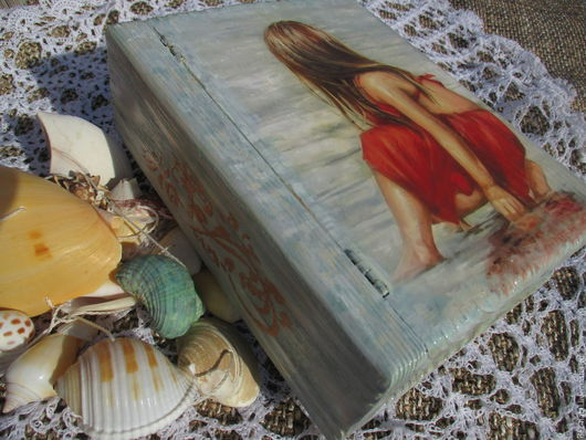 """Шкатулки ручной работы. Ярмарка Мастеров - ручная работа. Купить Шкатулка-книга  """"Девочка у моря"""". Handmade. Бирюзовый, шкатулка для мелочей"""