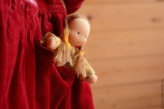 Вальдорфская игрушка ручной работы. Ярмарка Мастеров - ручная работа. Купить Кармашковая куколка, 12см. Handmade. Бежевый, карманная кукла