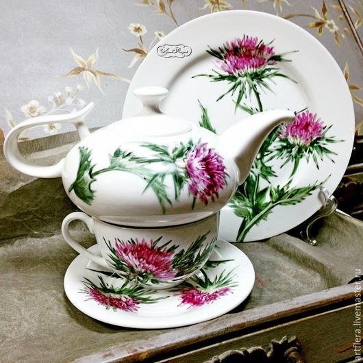 Сервизы, чайные пары ручной работы. Ярмарка Мастеров - ручная работа. Купить Роспись фарфора Сервиз чайный Чертополох. Handmade.