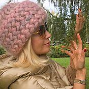 Аксессуары ручной работы. Ярмарка Мастеров - ручная работа Шапка Роза Чайная вязаная, вязанная из кид-мохера, теплая, женская. Handmade.