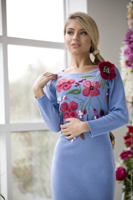 """Платья ручной работы. Ярмарка Мастеров - ручная работа. Купить Платье """"Flowers"""". Handmade. Голубой, рисунок на ткани"""