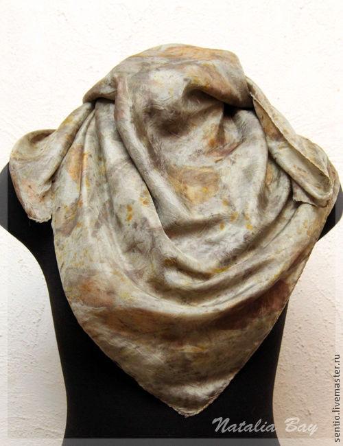 Шарфы и шарфики ручной работы. Ярмарка Мастеров - ручная работа. Купить Шелковый шарф №8 (эко принт). Handmade. Абстрактный