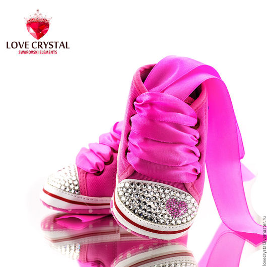 Детская обувь ручной работы. Ярмарка Мастеров - ручная работа. Купить Swarovski розовые кеды Сердце. Handmade. Розовый, рисунок