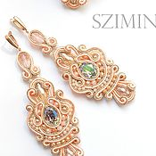 Украшения handmade. Livemaster - original item Soutache set of long earrings and rings Peony. Handmade.