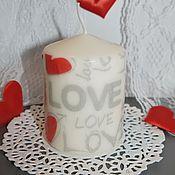 Подарки к праздникам ручной работы. Ярмарка Мастеров - ручная работа Свеча декоративная LOVE. Handmade.