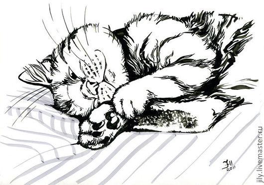 """Животные ручной работы. Ярмарка Мастеров - ручная работа. Купить Графика """"Нега"""". Handmade. Чёрно-белый, отдых, кот, котенок"""