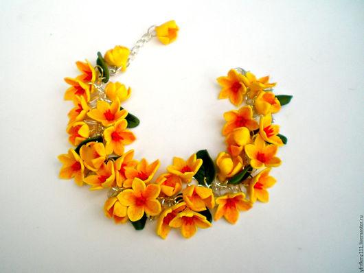 """Браслеты ручной работы. Ярмарка Мастеров - ручная работа. Купить браслет """"Жёлтые цветы"""". Handmade. Желтый, браслет с цветами"""