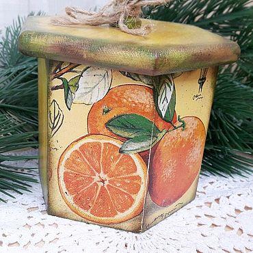 """Для дома и интерьера ручной работы. Ярмарка Мастеров - ручная работа Короб для хранения """"Апельсинчики"""". Handmade."""