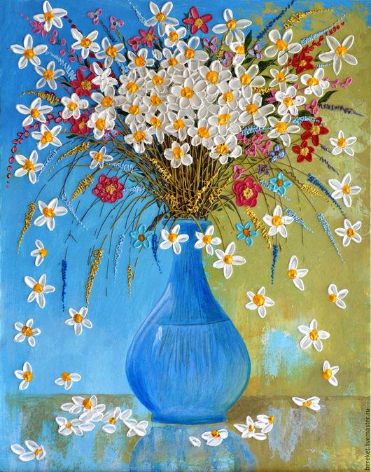 Картины цветов ручной работы. Ярмарка Мастеров - ручная работа. Купить ЛЕТНИЙ БУКЕТ В ГОЛУБОЙ ВАЗЕ. Handmade. Голубой