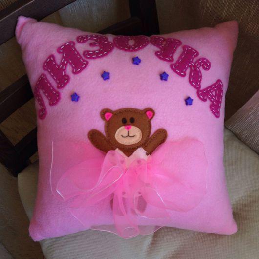"""Детская ручной работы. Ярмарка Мастеров - ручная работа. Купить Детская подушка двухсторонняя """"Мишутка-принцесса"""" (метрика, имя). Handmade."""