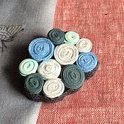 """Украшения ручной работы. Ярмарка Мастеров - ручная работа Брошка из ткани """"Ветер с моря дул"""" текстильная бохо брошь синяя. Handmade."""