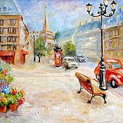 """Картины и панно ручной работы. Ярмарка Мастеров - ручная работа Картина """"Дожди над Парижем"""", бесплатная доставка, оранжевый, белый,. Handmade."""