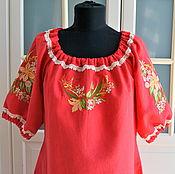 Одежда handmade. Livemaster - original item Red linen dress with embroidery Spring in boho style. Handmade.