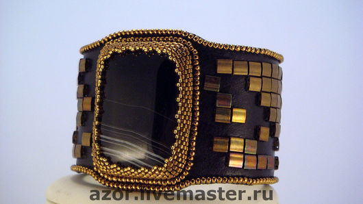 """Браслеты ручной работы. Ярмарка Мастеров - ручная работа. Купить браслет""""Амазонка"""". Handmade. Широкий браслет, японский бисер, черный"""