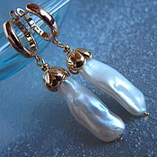 Украшения ручной работы. Ярмарка Мастеров - ручная работа Серьги Gold & pearl (натуральный жемчуг барокко). Handmade.