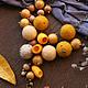 """Колье, бусы ручной работы. """"Осенние яблочки"""" колье. Мария Куликова. Ярмарка Мастеров. Шафран, осенний аксессуар, деревянные бусины"""